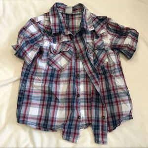 OLD NAVY plaid button down short sleeve shirt